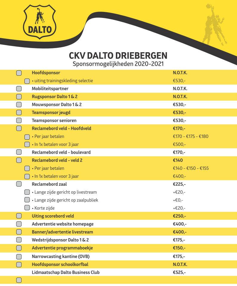2020-2021 Sponsormogelijkheden Dalto