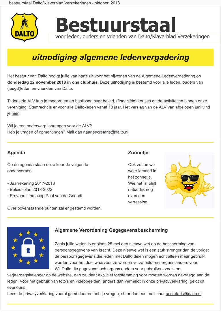 Dalto-bestuurstaal oktober 2018