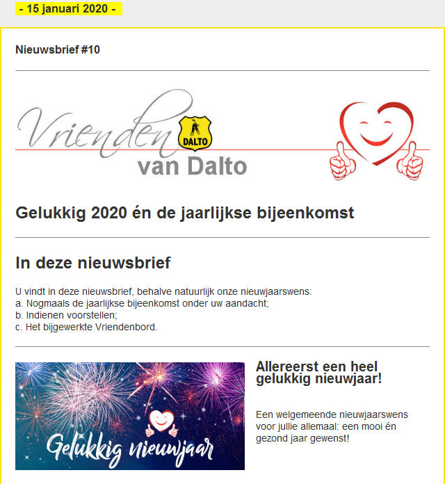 20200121 Nieuwsbrief Vrienden van Dalto